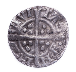 hammered silver penny of Edward I reverse