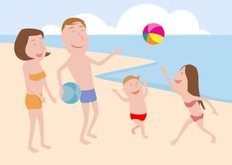 Happy family at the beach.