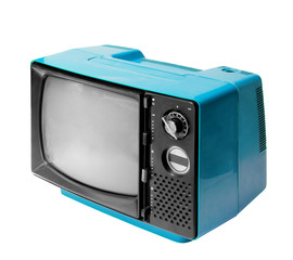 Colorful vintage analog television isolated with clipping path.