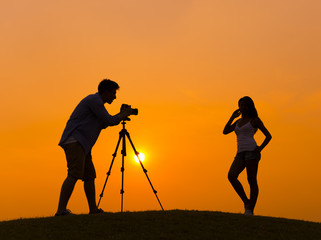 Silhouette of Photoshoot Outdoors