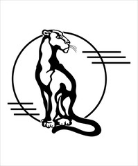 The stylized image of a seated panther