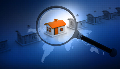 Magnifying glass searching for unique house