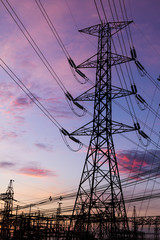 Electricity Pillars against colorful sunrise