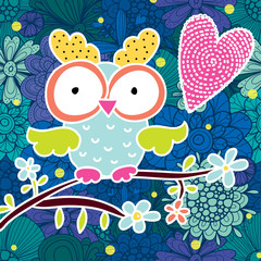 Cute postcard with owl.