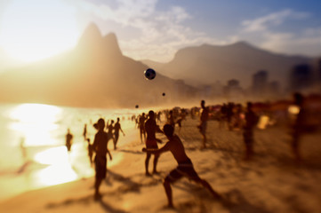 Rio Brazil Beach Football Brazilians Playing Altinho