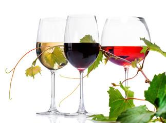 Wine. Three Glasses of wine isolated on white