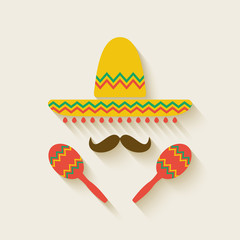 Mexican sombrero and  maracas