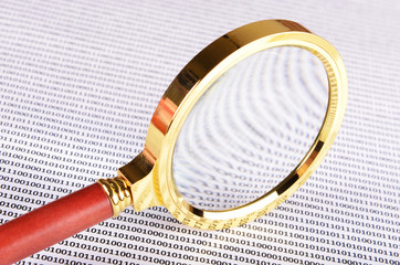 magnifying glass on the digital code