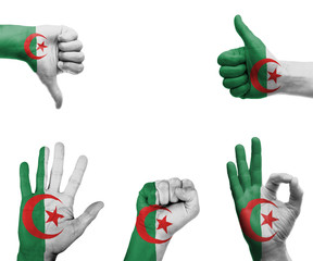 Hand set with the flag of Algeria
