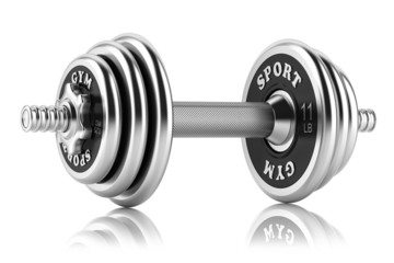 Steel dumbbell isolated on white background. 3D