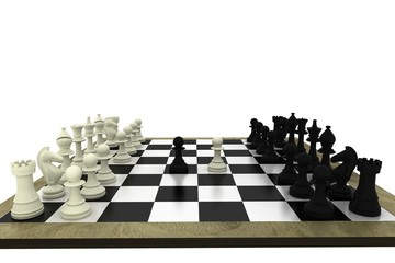 Black and white chess pieces on board
