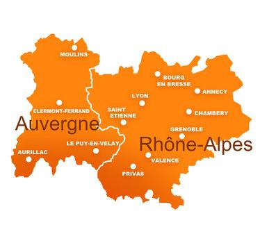 régions rhône alpes et auvergne avec préfectures