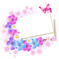 Background with paper and flowers