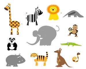 dzikie zwierzęta - wektory, komplet, białe tło