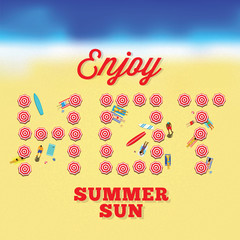 Hot Summer Sun Vector Card With Beach Background