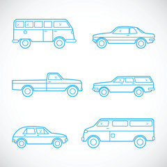 Line Style Vector Cars Set