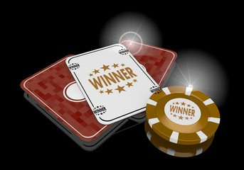 3d render of a happy winner sign  on poker cards