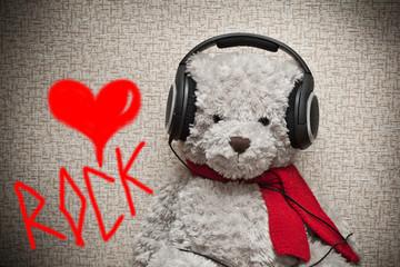 A fan of rock music in headphones