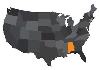 map state usa alabama