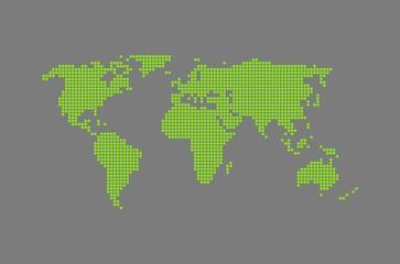 Moderne Weltkarte grau & grün