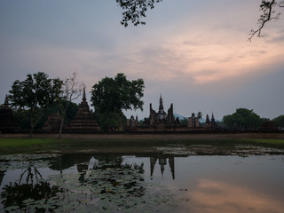 Evening at Wat Mahathat at Sukhothai Historical Park, Sukhothai,