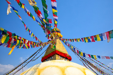 Prayer flags on Boudhanath Stupa in Kathmandu, Nepal