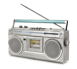 Eighties vintage radio cassette player