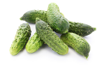 gherkin, garden fresh cucumbers isolated on white background