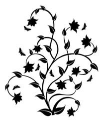 Floral Pattern Tree & Butterflies-Vector