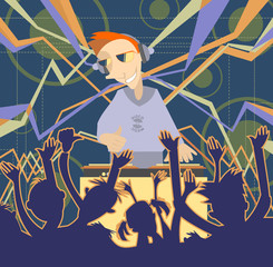 Cartoon funny DJ illustration