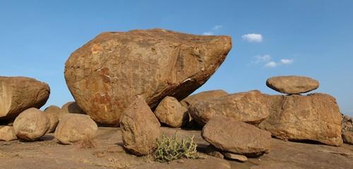 Beautiful balancing granite boulder