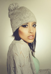 Beautiful cool hipster young woman wool hat