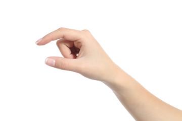 Fototapeta Woman hand holding some like a blank object obraz