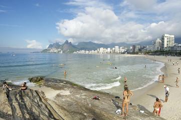 Arpoador Ipanema Beach Rio de Janeiro Brazil Skyline