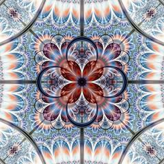 Symmetrical gold blue fractal flower