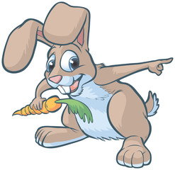 Happy Cartoon Rabbit Pointing