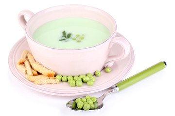 Tasty peas soup, isolated on white