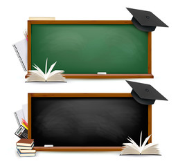 Two banners of chalkboards with school supplies and graduation c