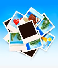 Travel background with vacation photos. Vector.