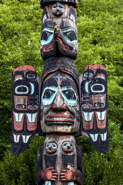 Carved totem pole in Ketchikan, Alaska