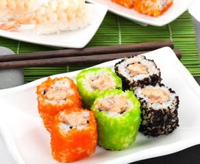 Sushi maki and shrimp sushi