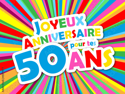 carte joyeux anniversaire pour tes 50 ans f te f licitations fichier vectoriel libre de. Black Bedroom Furniture Sets. Home Design Ideas