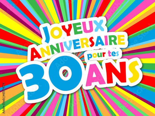 carte joyeux anniversaire pour tes 30 ans f te f licitations fichier vectoriel libre de. Black Bedroom Furniture Sets. Home Design Ideas