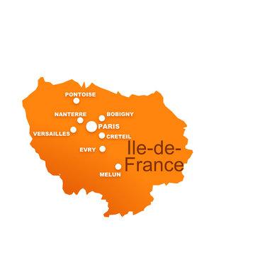 région île de france avec préfectures