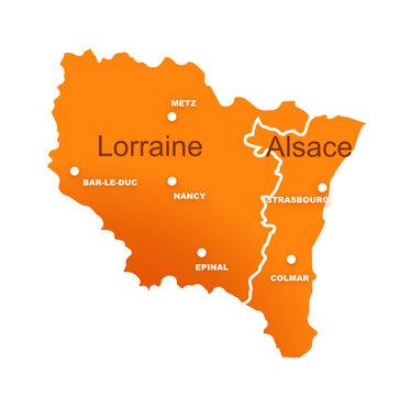 régions alsace et lorraine avec préfectures