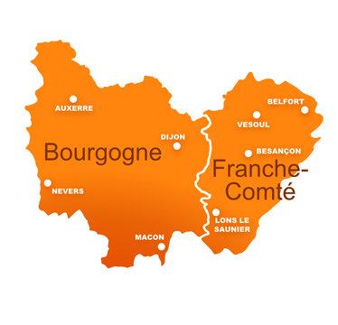régions bourgogne et franche comté avec préfectures
