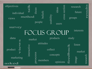 Focus Group Word Cloud Concept on a Blackboard