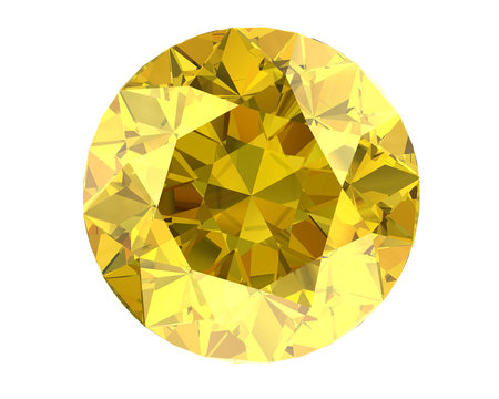 Yellow diamond on white background (high resolution 3D image)