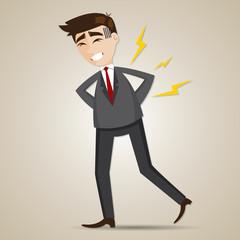 cartoon businessman have backache