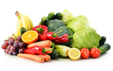 Printed roller blinds Vegetables Organic vegetables isolated on white